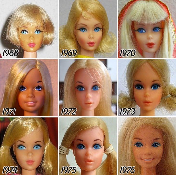 Evoliucion de la barbie a partir de 1968