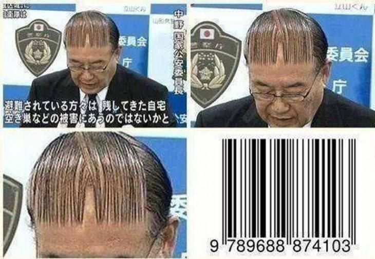 peinado de un hombre parecido al de un código de barras