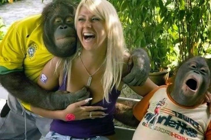 chica en medio de dos monos mientras uno le agarra un seno