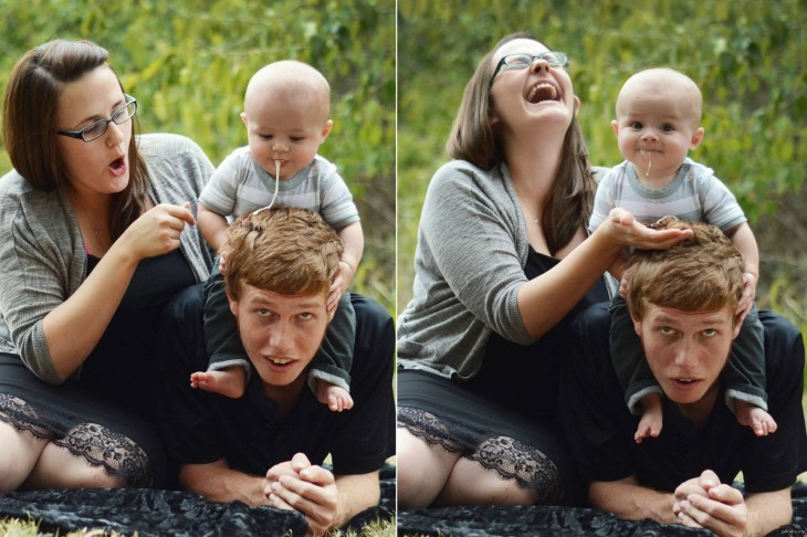 fotografía de cómo un niño vomita sobre la cabeza de su padre