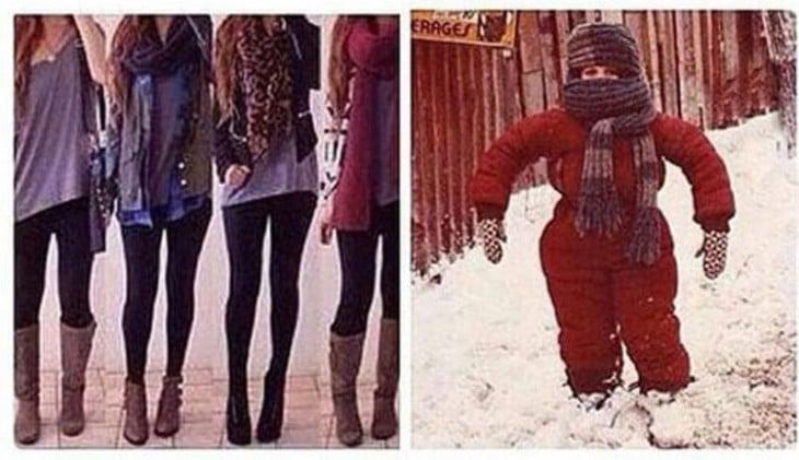 la diferencia de mujeres en el invierno contra la que siempre tienen frio