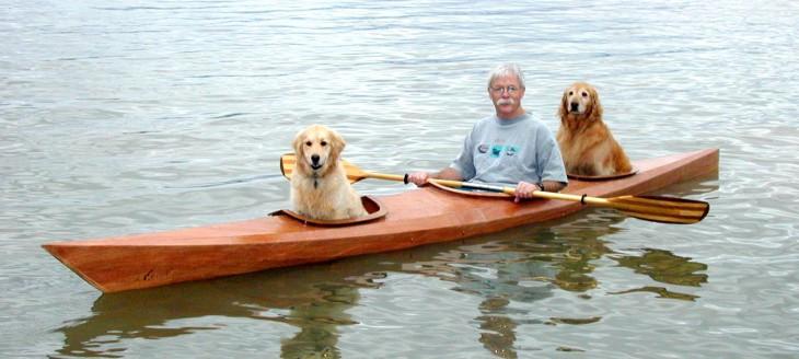 hombre dentro de su kayak con sus mascotas junto con él