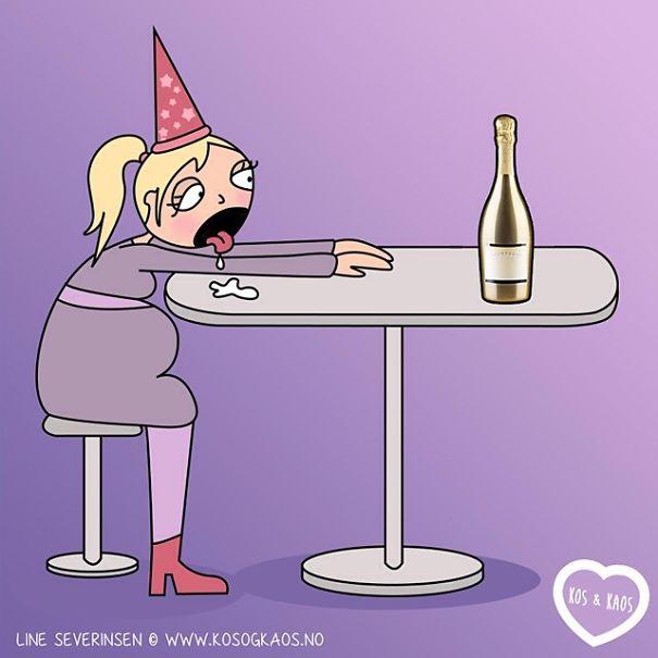 ilustración de una mujer embarazada sentada babeando por una botella de vino