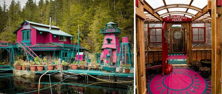 Colores magenta y azul de la isla flotante en Vancouver