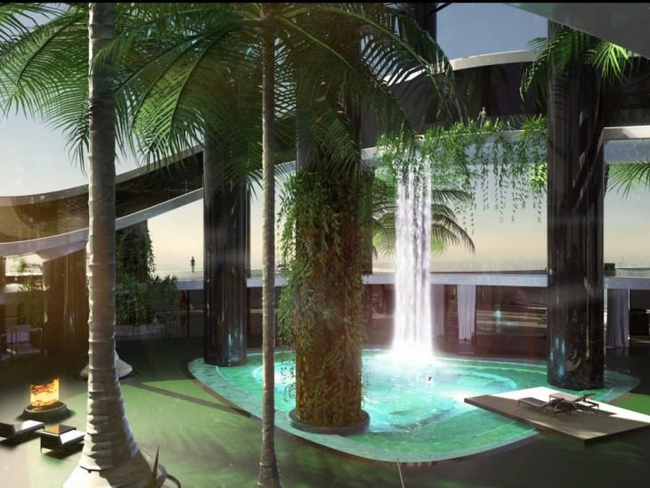 Jardines tropicales y cascadas como parte del prototipo de Kokomo Island