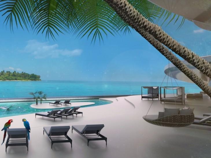 Prototipo de albercas con vista al mar y palmeras dentro de la Isla Kokomo