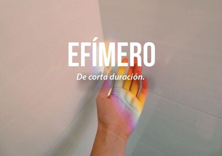 imagen de una mano con la definición de efímero