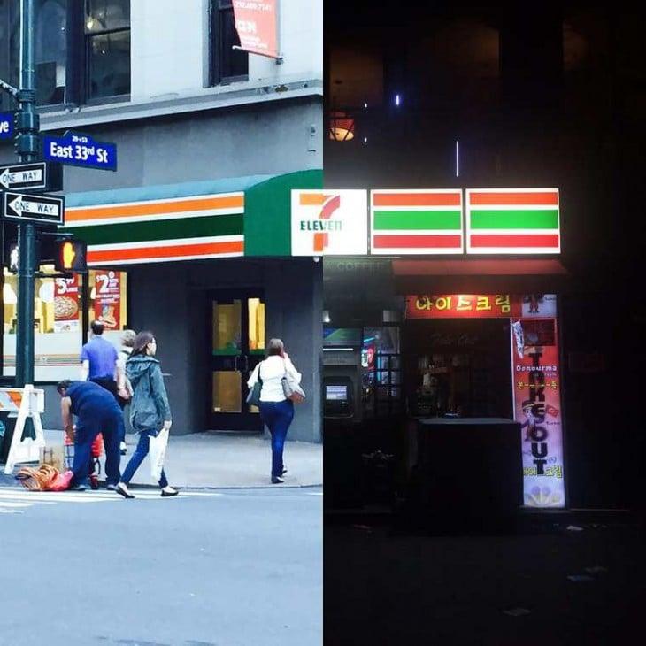 imagen de un 7 eleven de nueva york y de Seúl