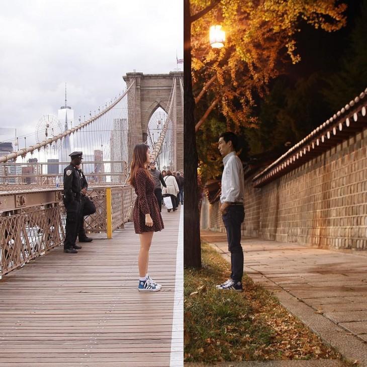 foto de dos personas en diferentes lugares que simula que se ven frente a frente