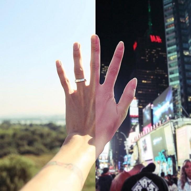 foto de la mitad de la mano de una mujer junto a la mitad de una mano de un chico