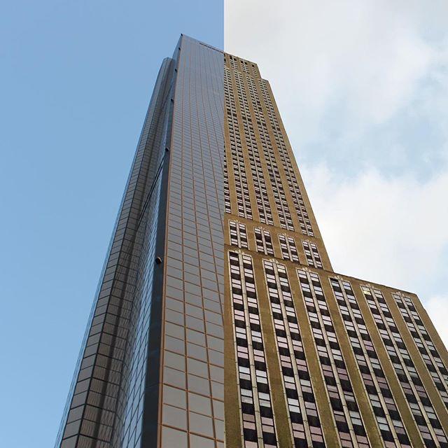foto de dos edificios partidos a la mitad
