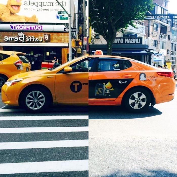 foto de dos taxis partidos a la mitad