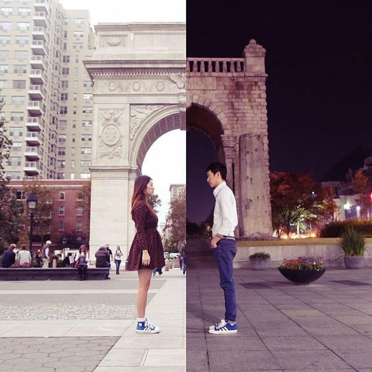 fotos de una chica junta con otra frente a su novio