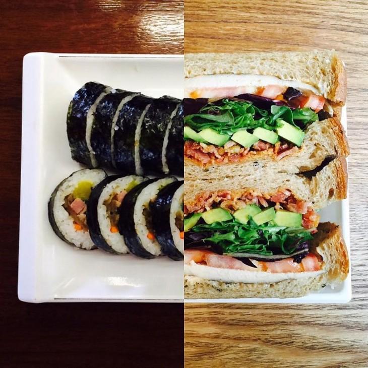foto que en la mitad es un sándwich y sushi