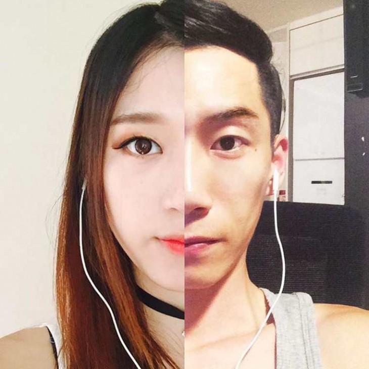 foto de la mitad de la cara de una mujer junto a la mitad de la cara de un hombre