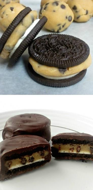 Galletas oreo rellenas con masa de galletas cubiertas con chocolate