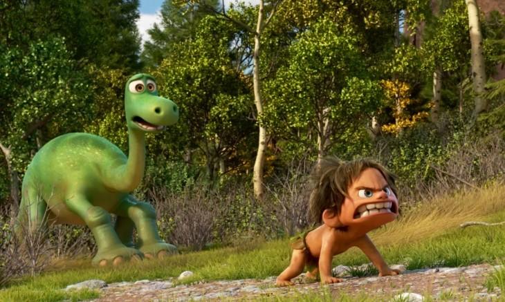 fotografía que muestra dos personajes de la película The Good Dinosaur