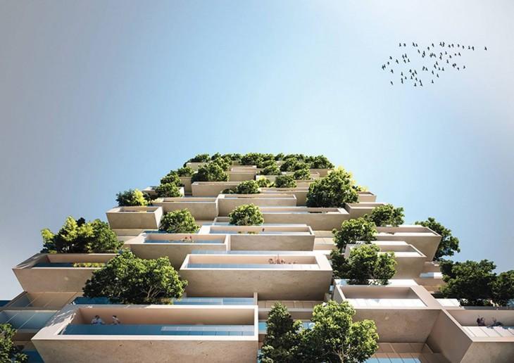 vista de abajo del primer edificio cubierto por árboles