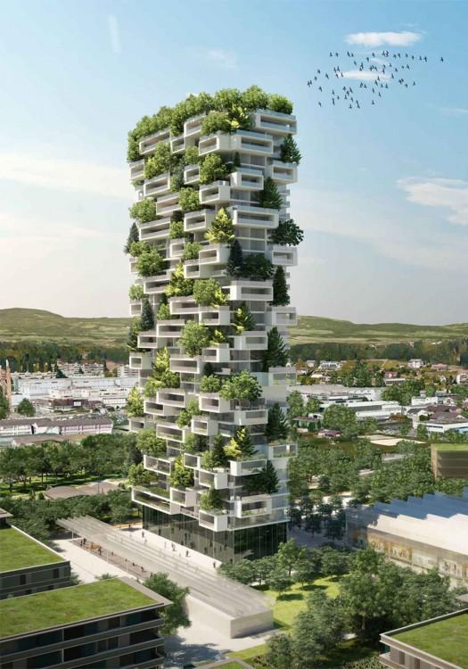 proyecto del edificio que estará cubierto por árboles en Suiza