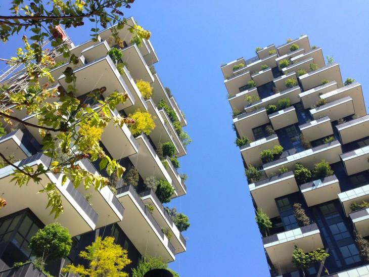 fotografía del proyecto en Suiza del primer edificio cubierto con árboles