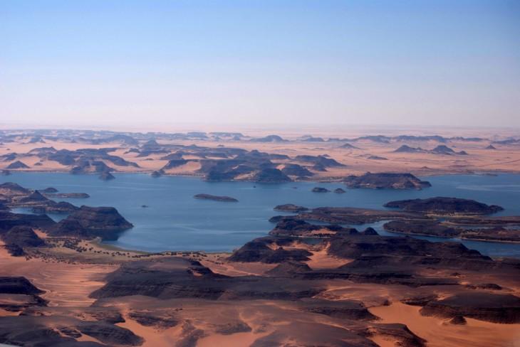 Lago Nasser, cuenca media del Río Nilo al sur de Egipto