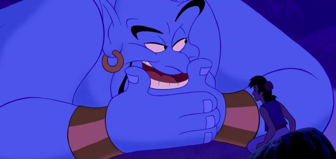 Genio platicando frente a Aladdin
