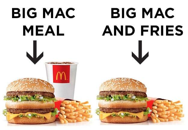 diferencia entra un Big Mac y una comida Big Mac