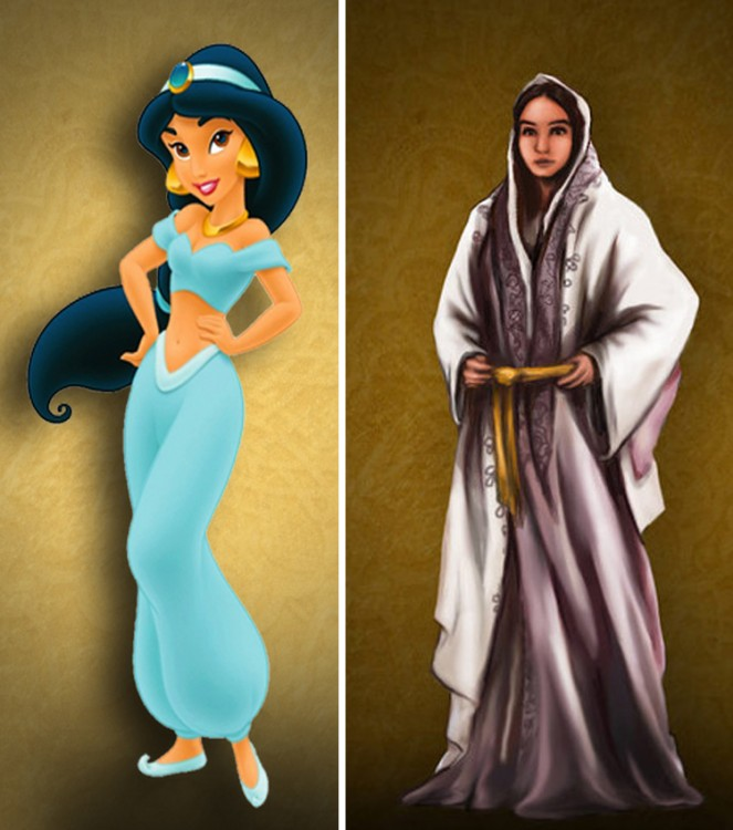 """ilustración que muestra como luce y como debería lucir la princesa Jazmín de """"Aladdin"""""""