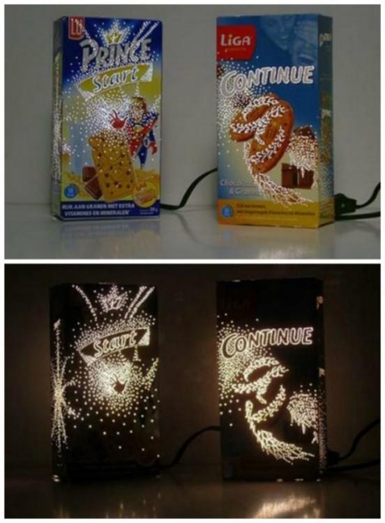 lámparas hechas en cajas de cereales