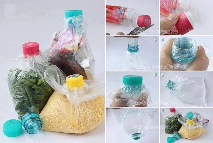 procedimiento para guardar alimentos en bolsas de plástico