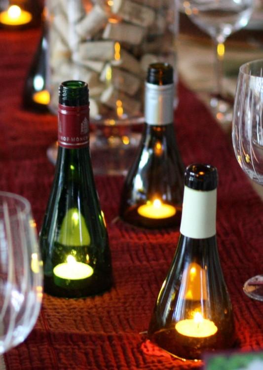 velas dentro de botellas de vino