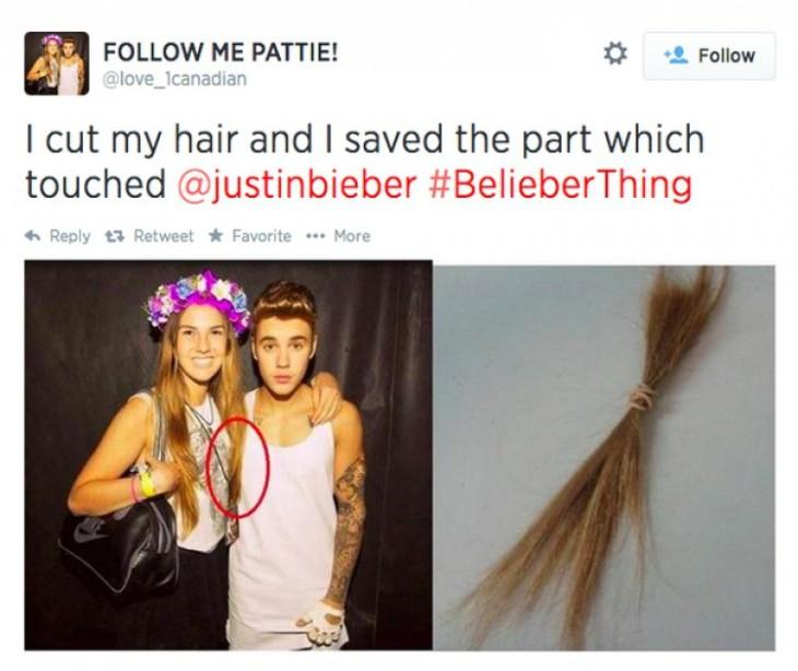 fan de justin se corta el cabello que rozo alguna parte del cantante