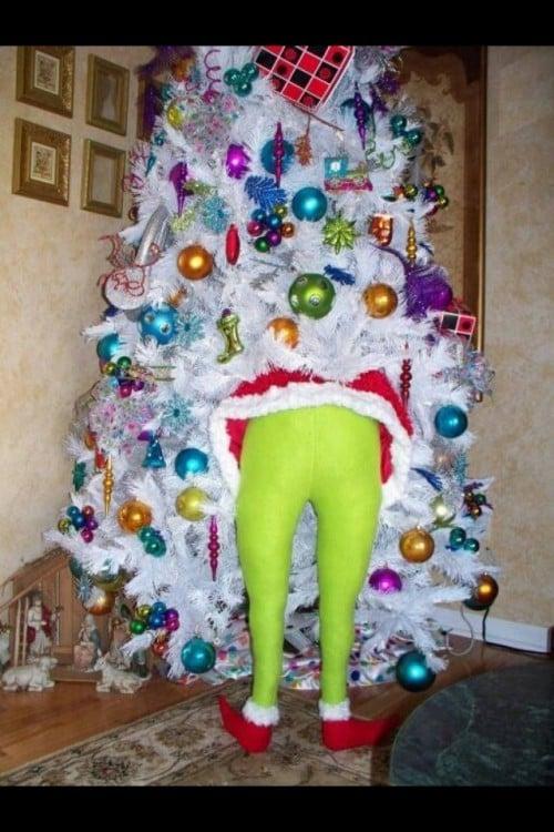el grinch metido en un árbol de navidad