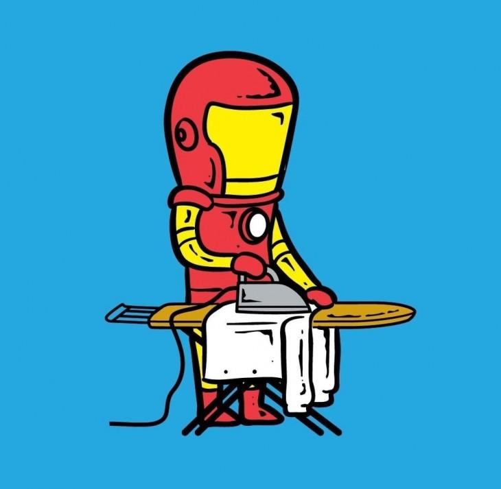 Iron planchando ropa ajena