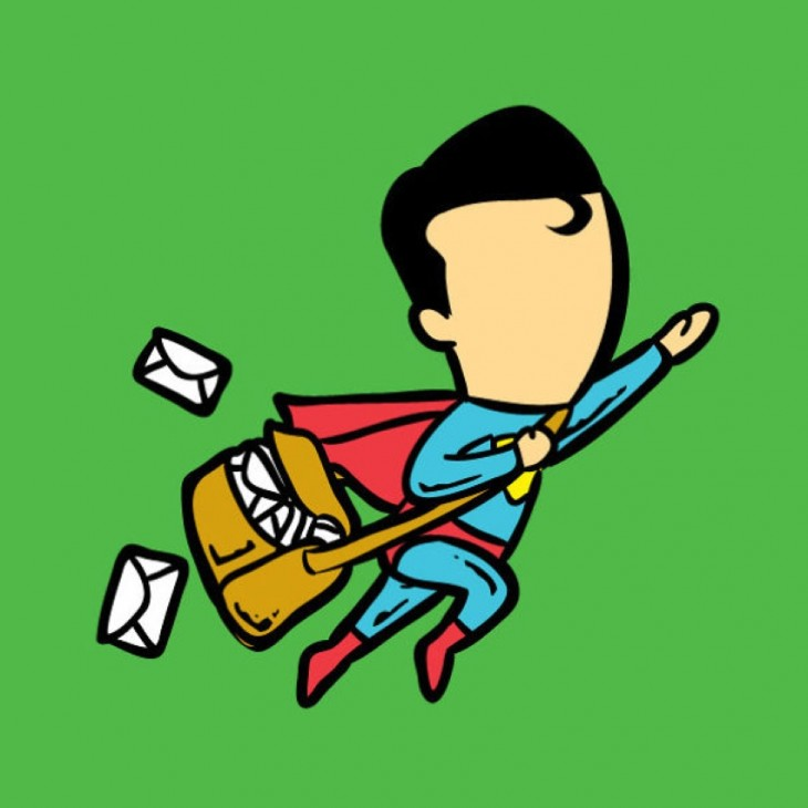 Superman entregando cartas toda Nova Iorque