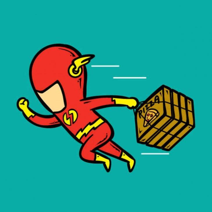 trabalho flash como um entregador de pizza