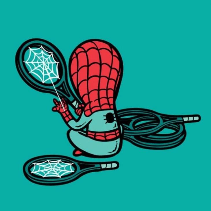 spiderman arreglando raquetas en sus tiempos libres