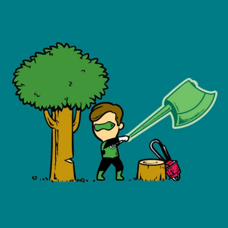 linterna verde cortando un árbol