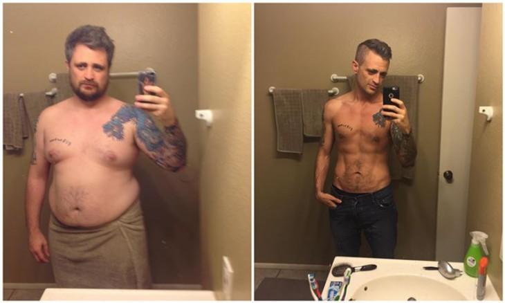 hombre de 31 años que bajo 100 kilos de peso por esfuerzo y voluntad. actualmente se corto la piel sobrantey luce un cuerpo espectacular