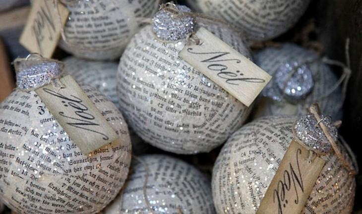 esfereaas navideñas reusadas y tapadas con periodico