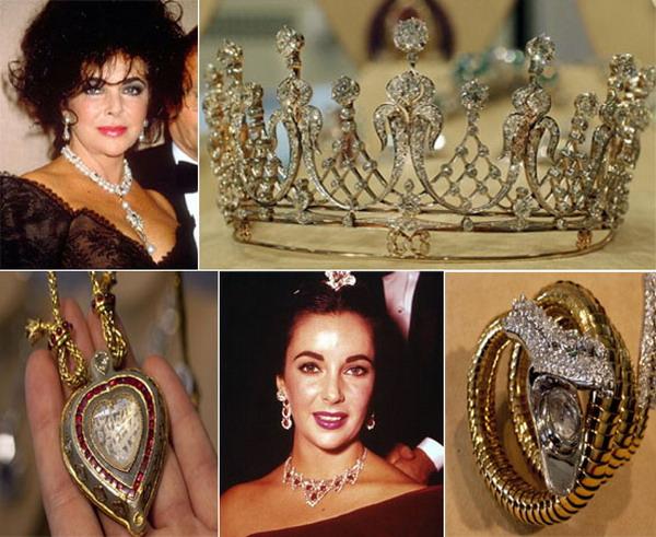 ELizabeth Taylor con algunas de sus joyas más preciadas