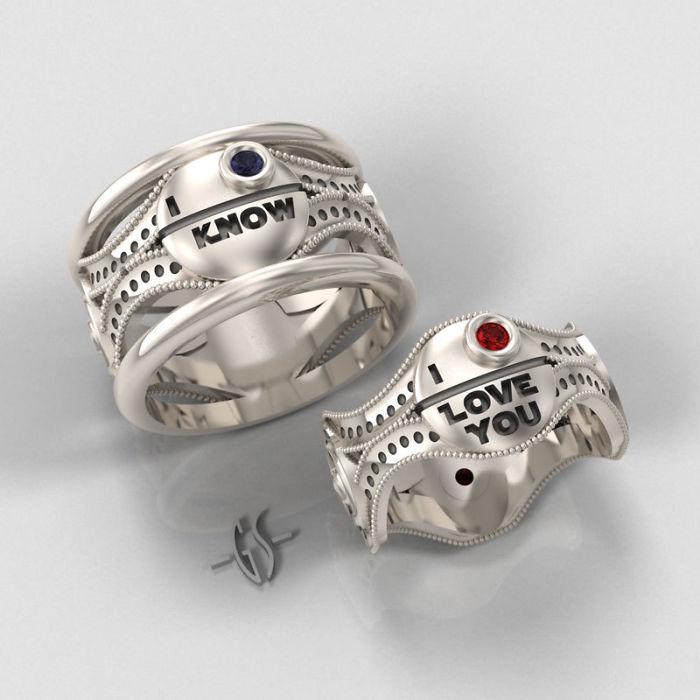 anillos con zafiros y rubies de Star Wars