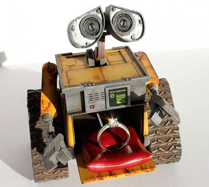 CAJA PARA ANILLO DE COMPROMISO EN FORMA DE WALL-E