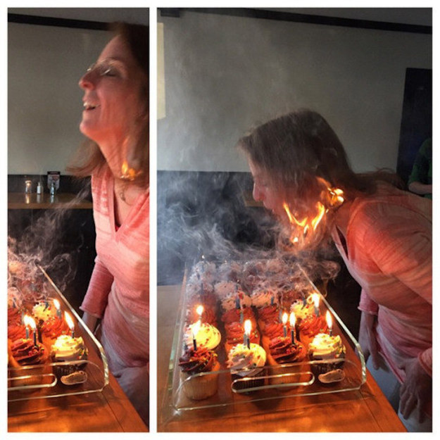 mujer se le quemó el cabello el día de su cumpleaños