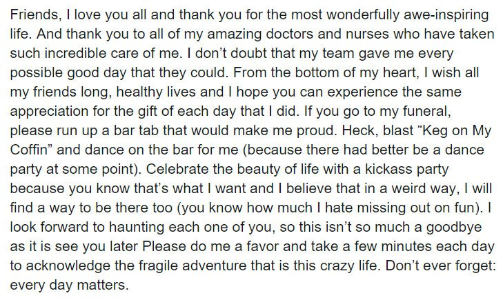 Esta es la conmovedora y divertida carta de despedida que una mujer con cáncer escribió