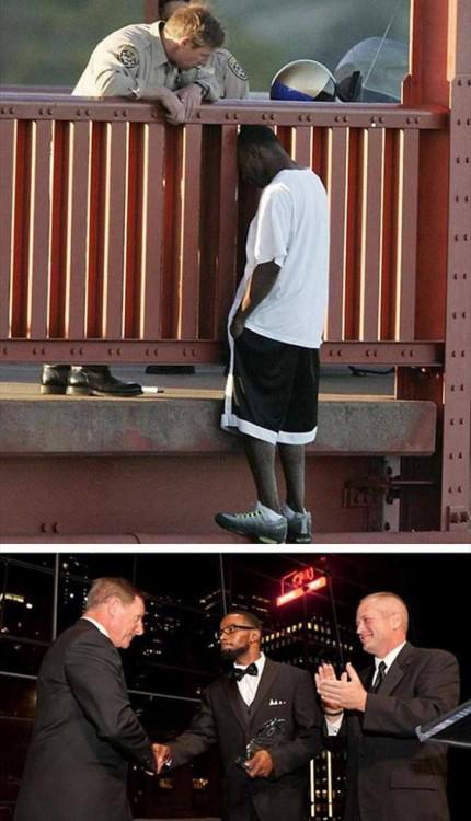 hombre que se trato de suicidar y fue salvado por un policia 8 años después le agradeció dandóle honores