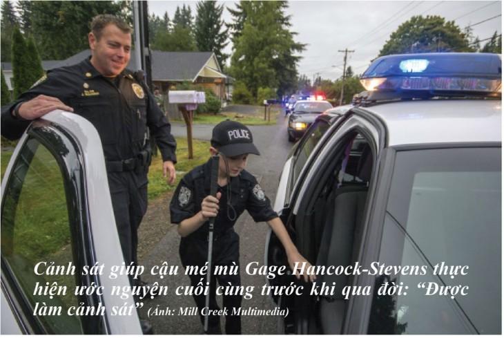 niño que estaba perdiendo su visión cumplio su deseo de ser policia