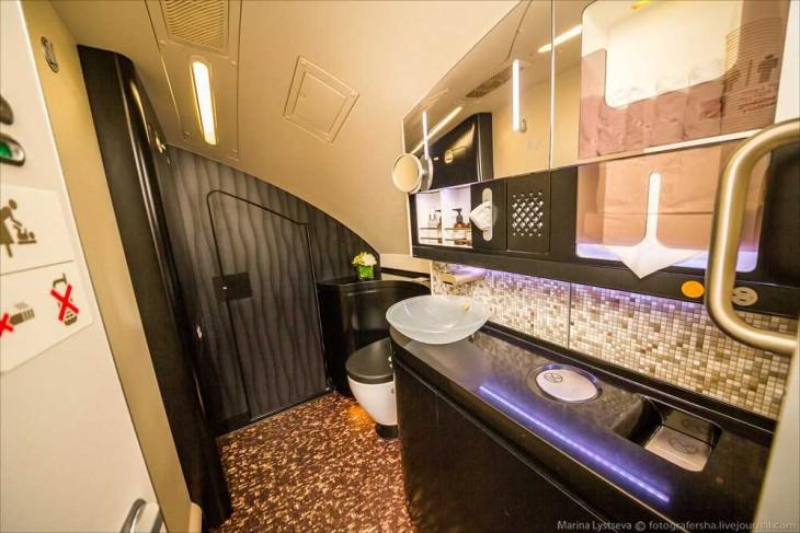 baños en el avión A380 En Abu Dabhi