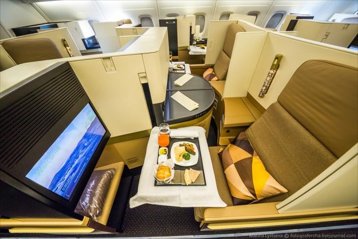 asientos de la clase de negocios en el avión A380