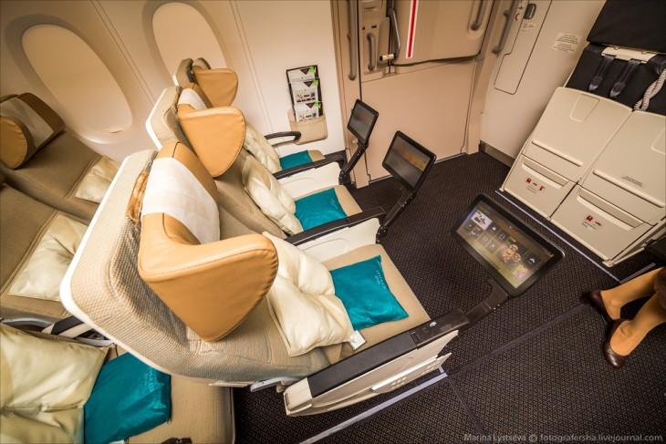 asientos de la clase turista en el avión A380